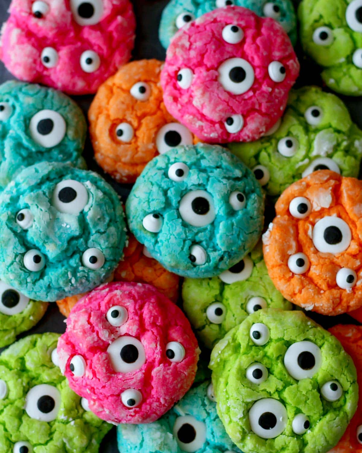 Gooey monster cookies dotted with eyeballs