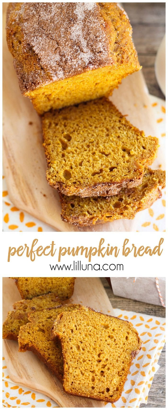 The most delicious Pumpkin Bread recipe filled with so much flavor. Best part?! No yeast involved! It's a favorite fall treat. { lilluna.com }