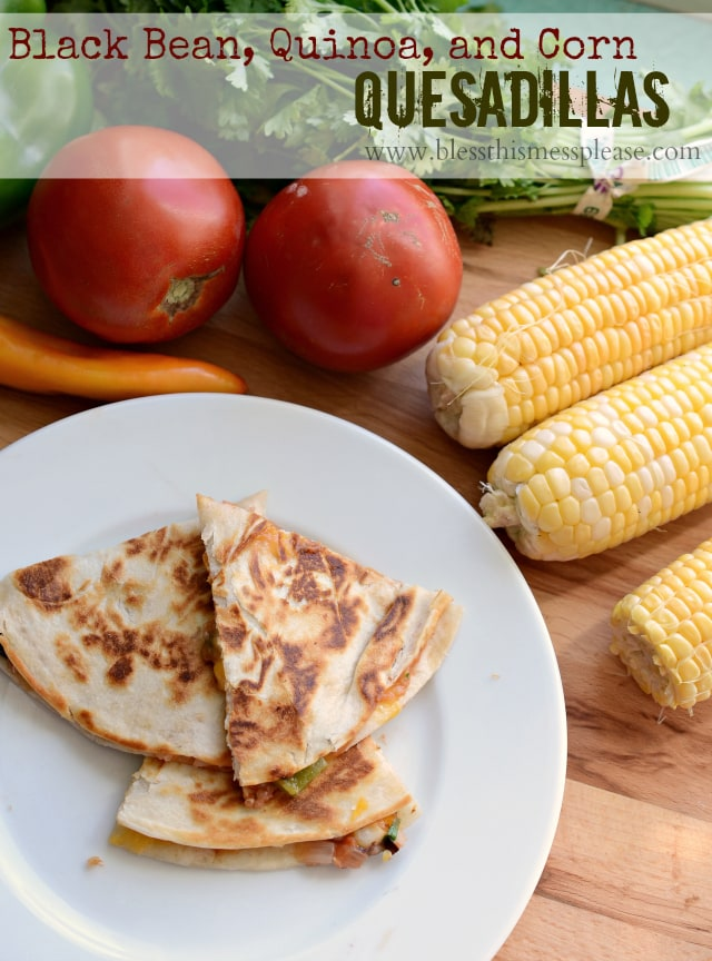 Black Bean, Quinoa and Corn Quesadillas - YUM!! { lilluna.com } Lots of ingredients & flavors!!