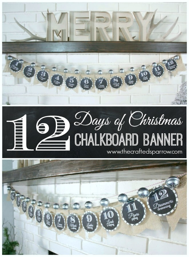 12 Days of Christmas Chalkboard Banner! Such a cute way to countdown!! Easy to make!!