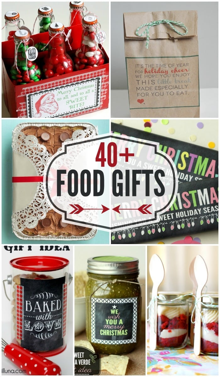 A great collection of 40 + Food Gifts - perfect for holiday neighbor gifts!! { lilluna.com }