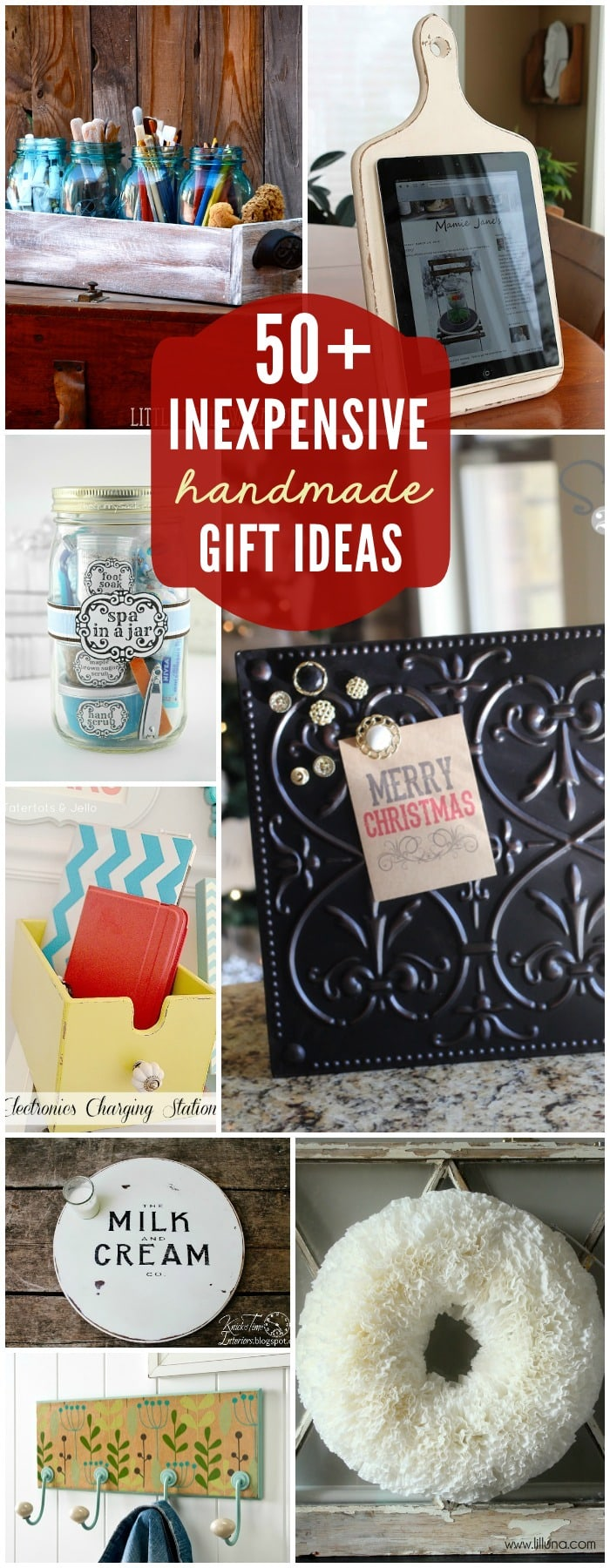 50+ Inexpensive DIY Gift Ideas - perfect for Christmas! { lilluna.com } Lots of cute and easy ideas!!