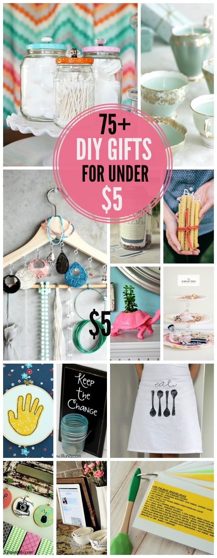 An awesome collection of 75+ DIY Gifts for Under $5. Lots of great ideas!!