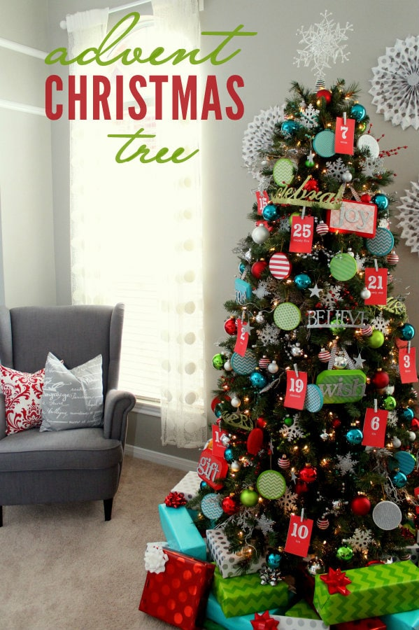 Advent Christmas Tree! The kids will love this! { lilluna.com } So colorful!!