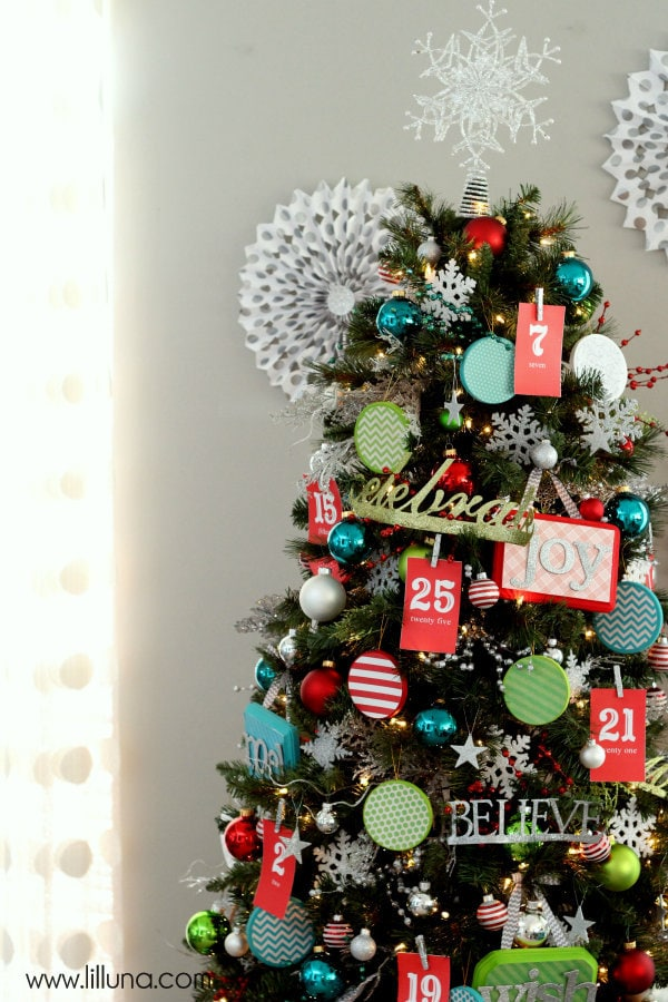 Beautiful Advent Christmas Tree on { lilluna.com }