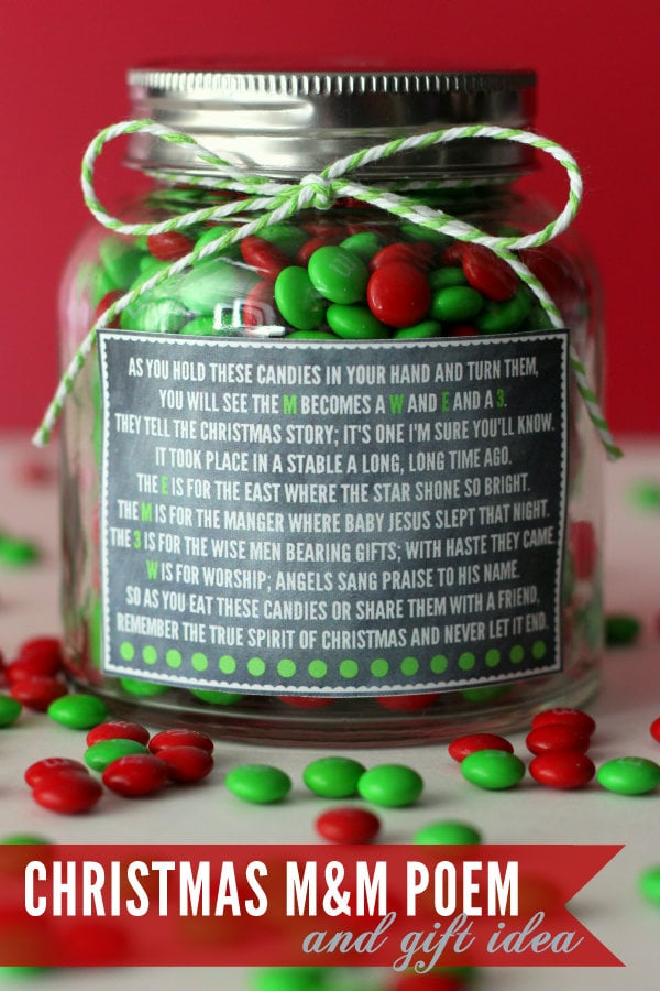 Christmas M&M Poem and Gift Idea - cute and simple - all you need is some m&m's, a jar, ribbon, and your label!! { lilluna.com }