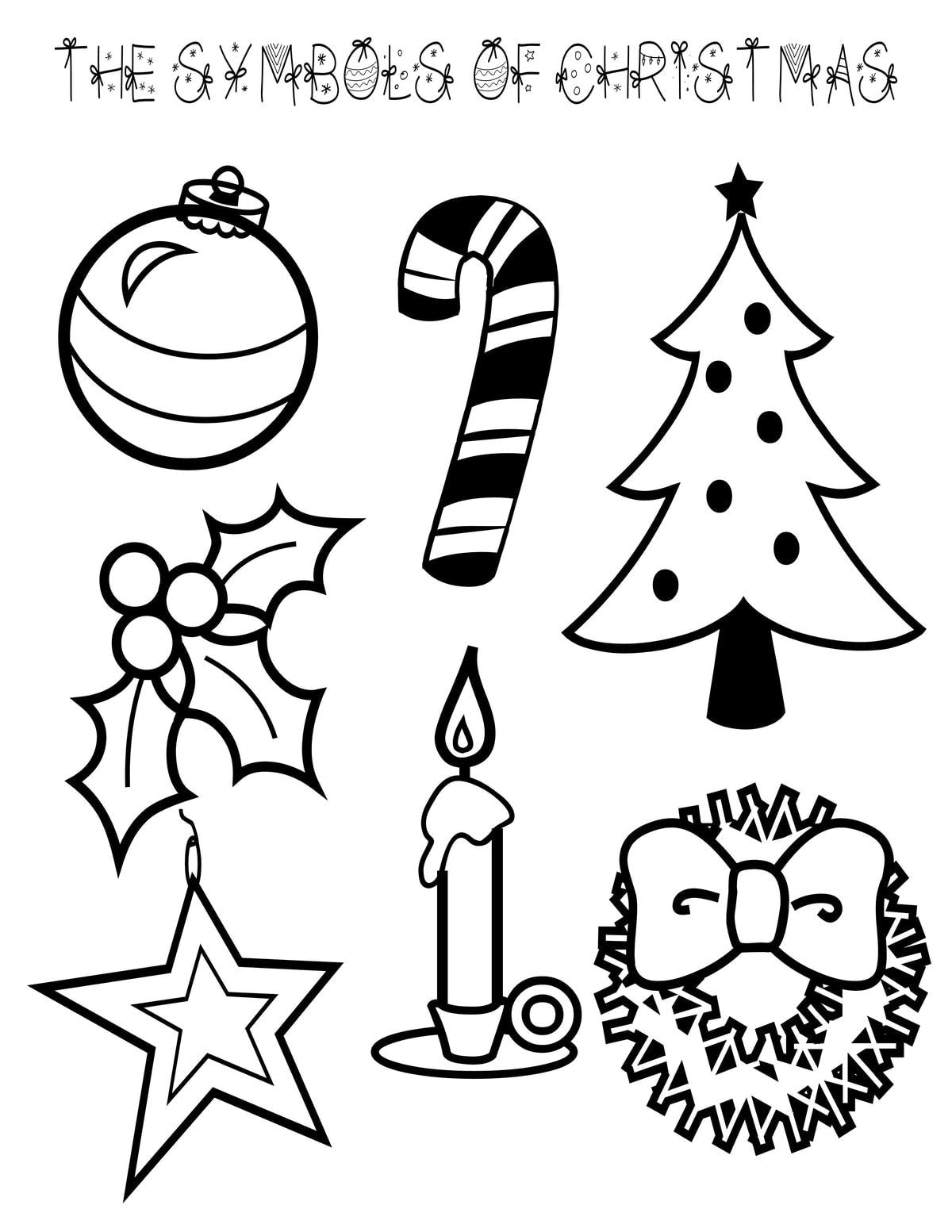 symbols of christmas coloring page symbols of christmas coloring page