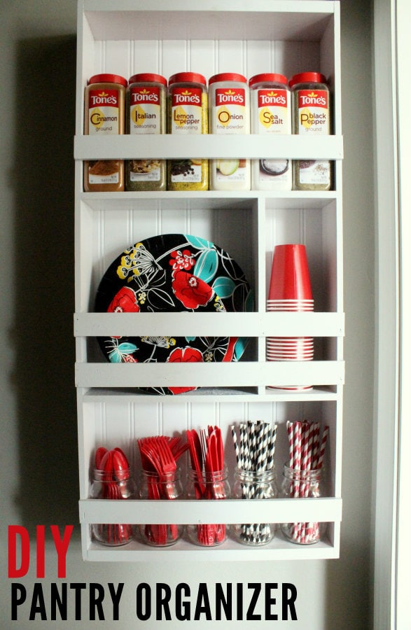 "DIY Organizing Shelf perfect for the Pantry! Perfect for holding all those ""not sure where to put these"" items!"