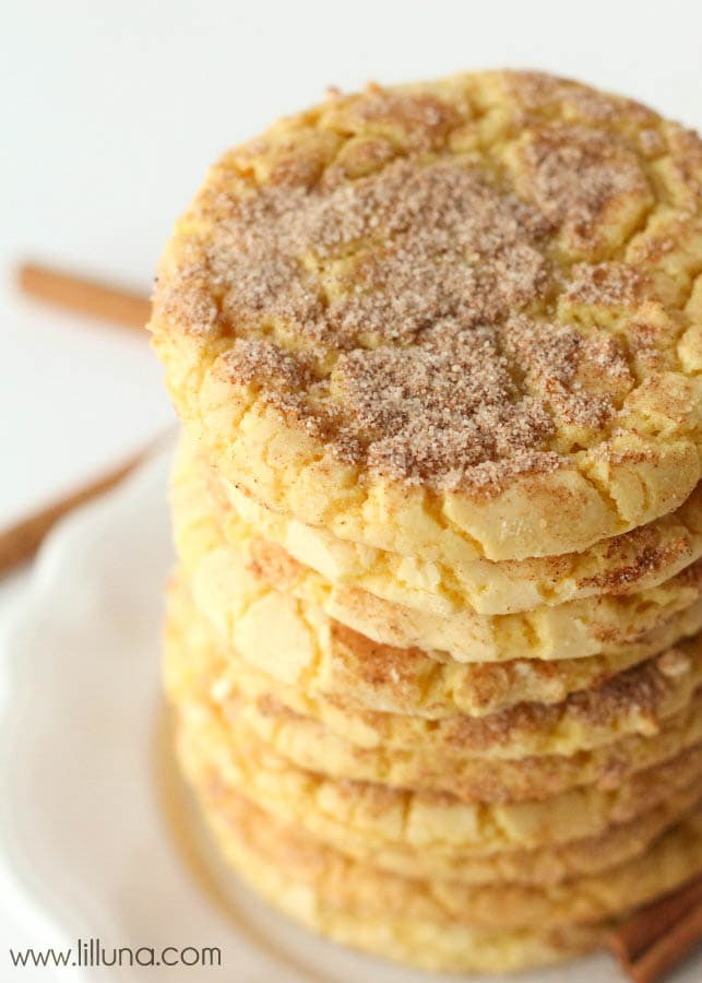 So easy - Cake Batter Snickerdoodles! { lilluna.com } Recipe is made from yellow cake mix. These are so soft and yummy!