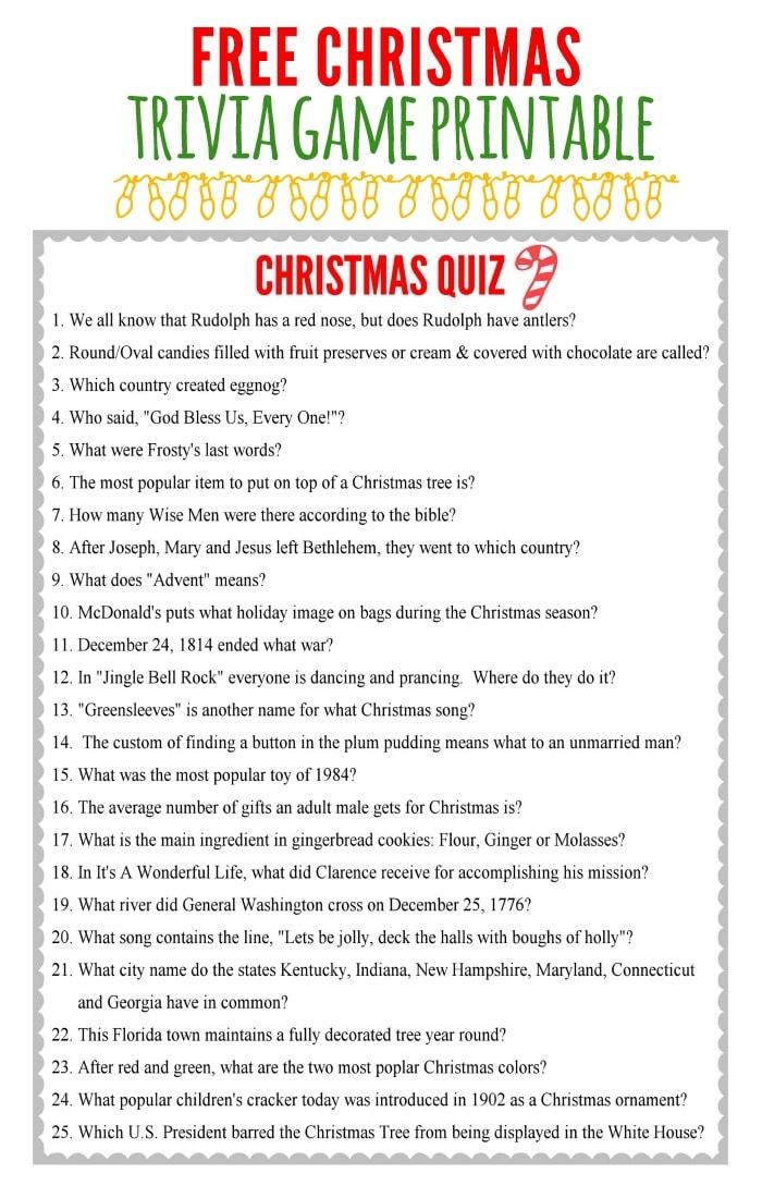 Free Christmas Trivia Game perfect for your Christmas Party or Get Together { lilluna.com }