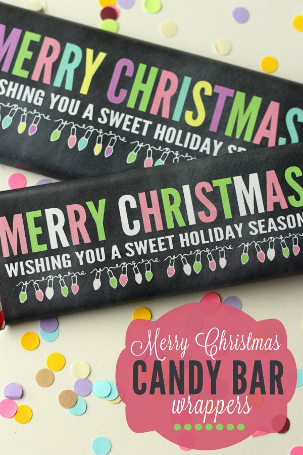Merry Christmas Candy Bar Wrappers. A cute and simple print to add to any candy bar!