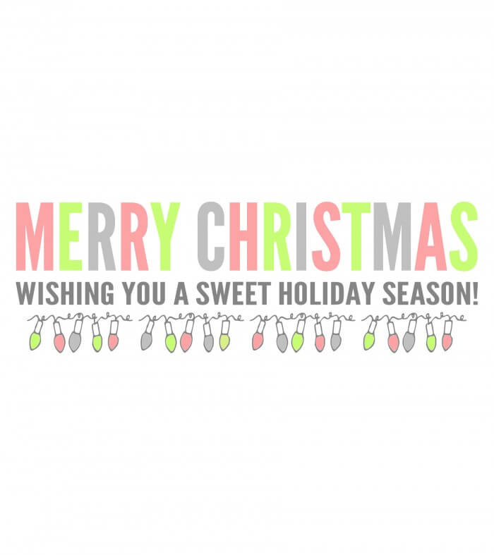 Merry Christmas Candy Bar Wrapper WHITE - rainbow print