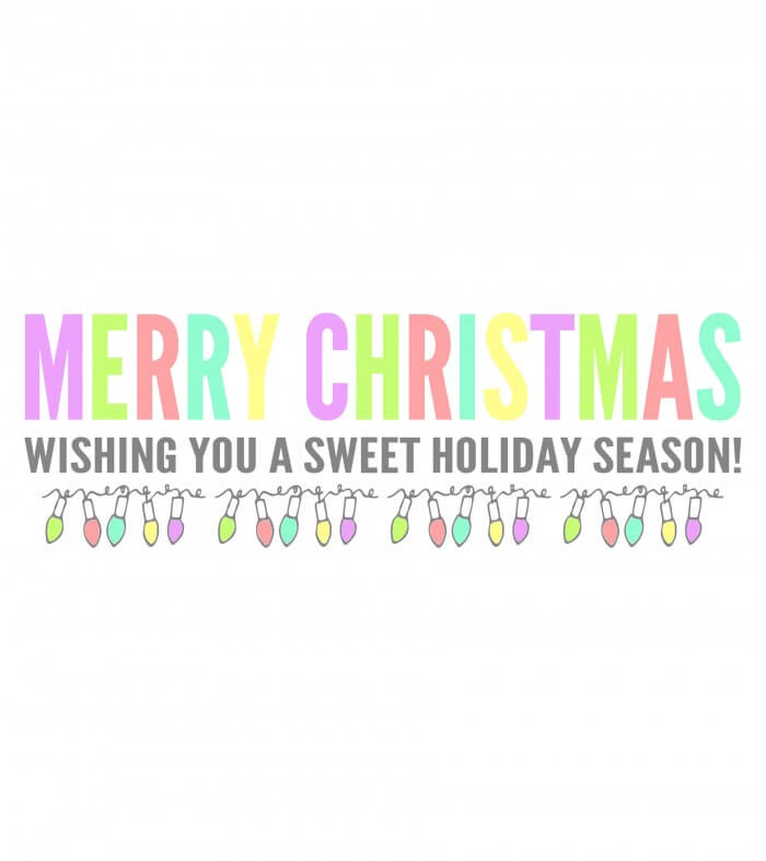 Merry Christmas Candy Bar Wrapper WHITE -rainbow print