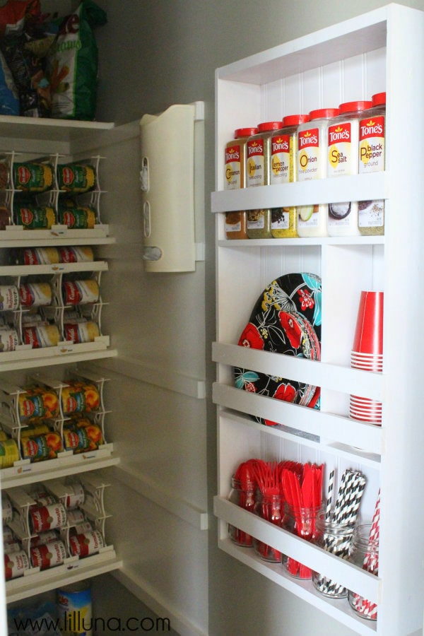 """DIY Organizing Shelf perfect for the Pantry! Perfect for holding all those """"not sure where to put these"""" items!"""