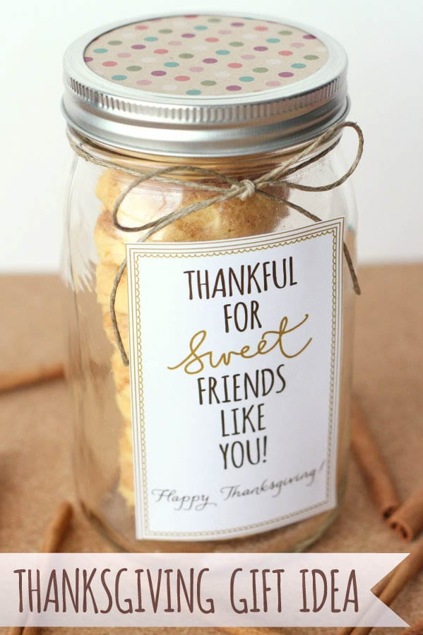 Thankful for Friends like You Gift Idea - CUTE! Such an easy idea - fill with delicious cake batter snickerdoodles, add your tag and ribbon and it's ready! Recipe on { lilluna.com }