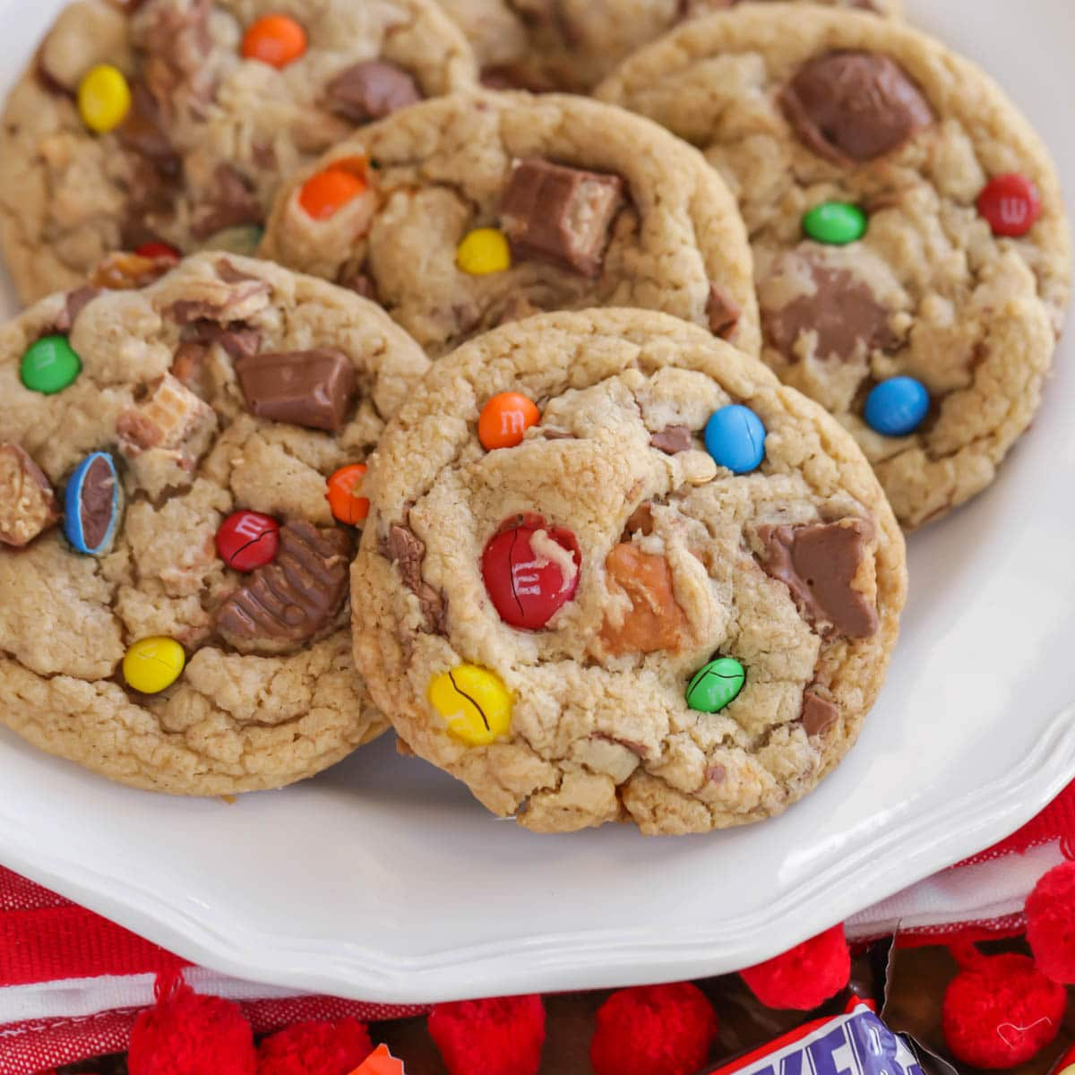 Candy bar cookies on a white plate