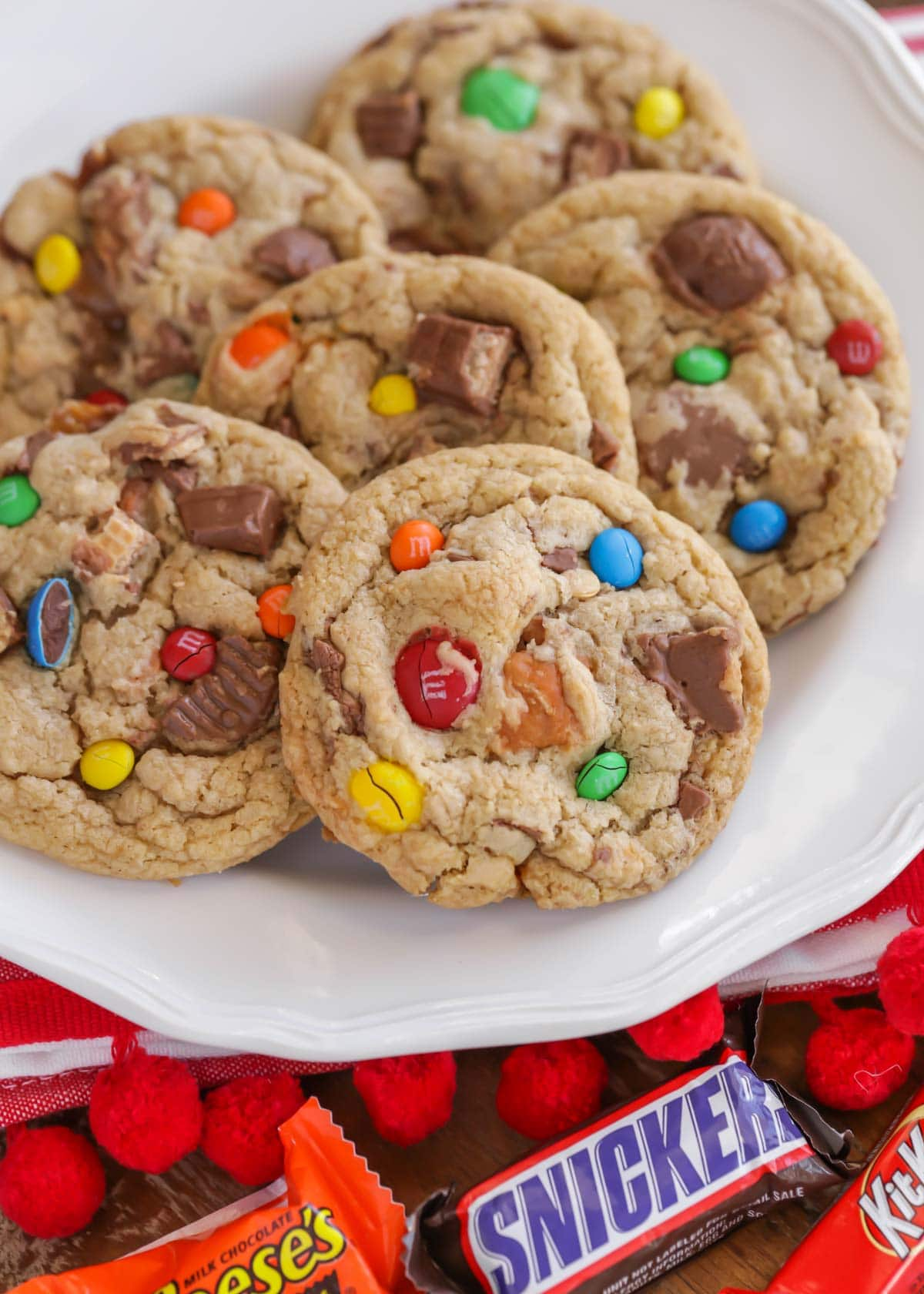 White plate filled with candy bar cookies