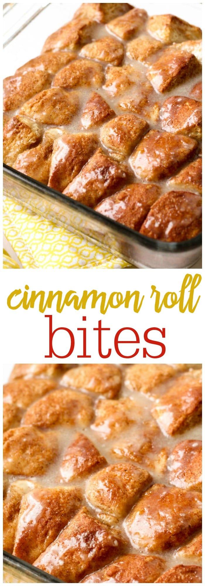 Super simple and delicious Cinnamon Roll Bites - so good { lilluna.com } Recipe includes refrigerated biscuits, butter, cinnamon, & sugar with a yummy glaze!