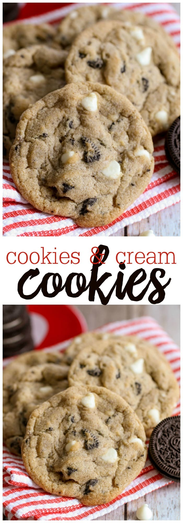 Cookie N Cream Cookies - soft and chewy cookies filled with white chocolate chips and Oreos.