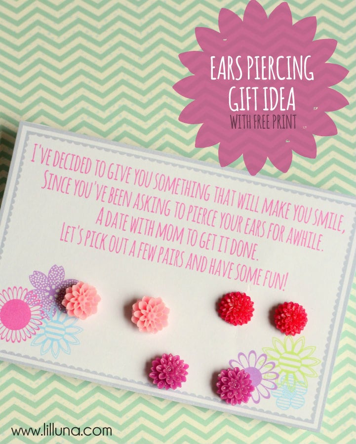 ADORABLE Gift Idea - Take Your Daughter to get her ears Pierced. Free print on { lilluna.com }