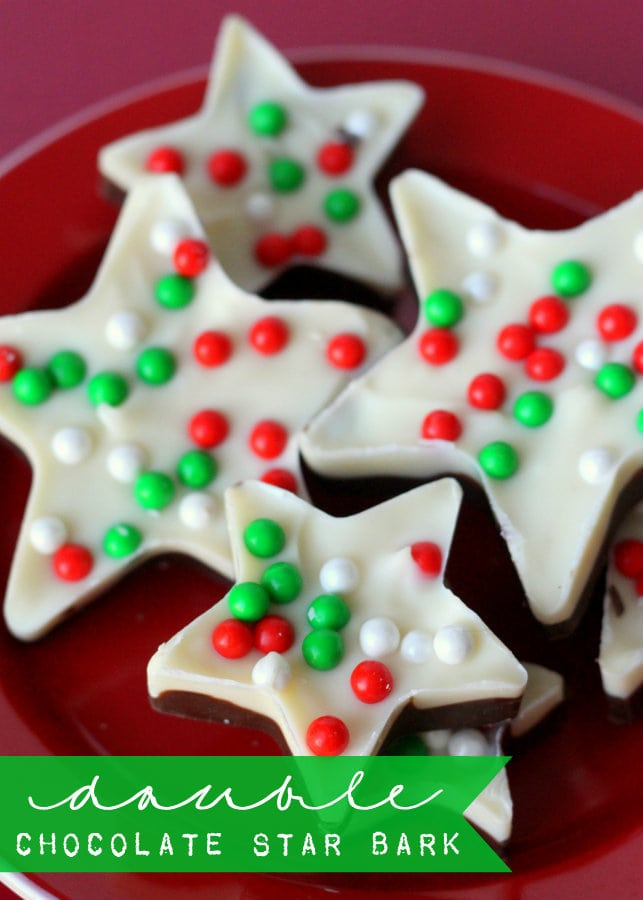 Delicious Double Chocolate Star Christmas Bark on { lilluna.com } Ingredients include white & chocolate candy coating & sprinkles!!