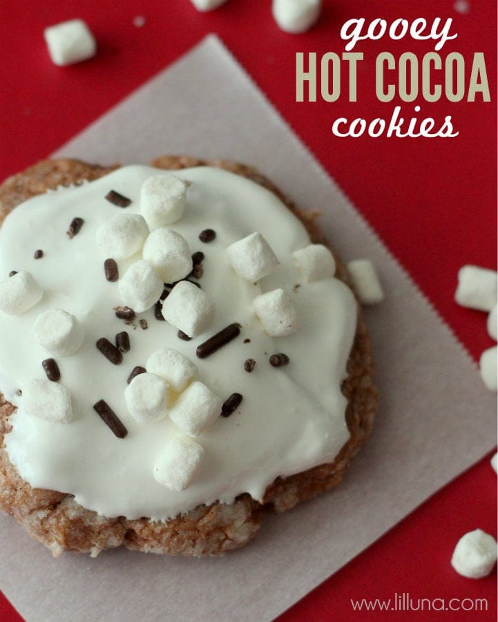 Delicious Gooey Hot Cocoa Cookies recipe. Ingredients include hot chocolate cupcake box mix, cream cheese, & powdered sugar!
