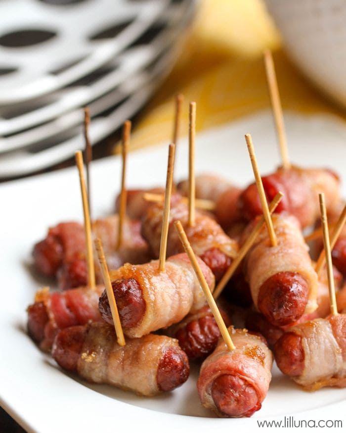 Bacon Wrapped Lil' Smokies that are pure heaven! { lilluna.com } The best little appetizer!!