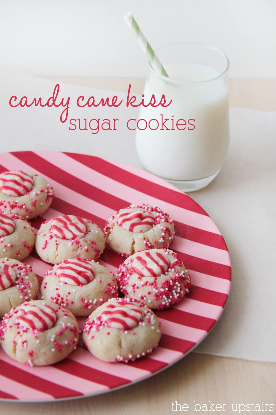 Delicious Candy Cane Kiss Sugar Cookies! Soft sugar cookies topped with peppermint kisses and sprinkles!