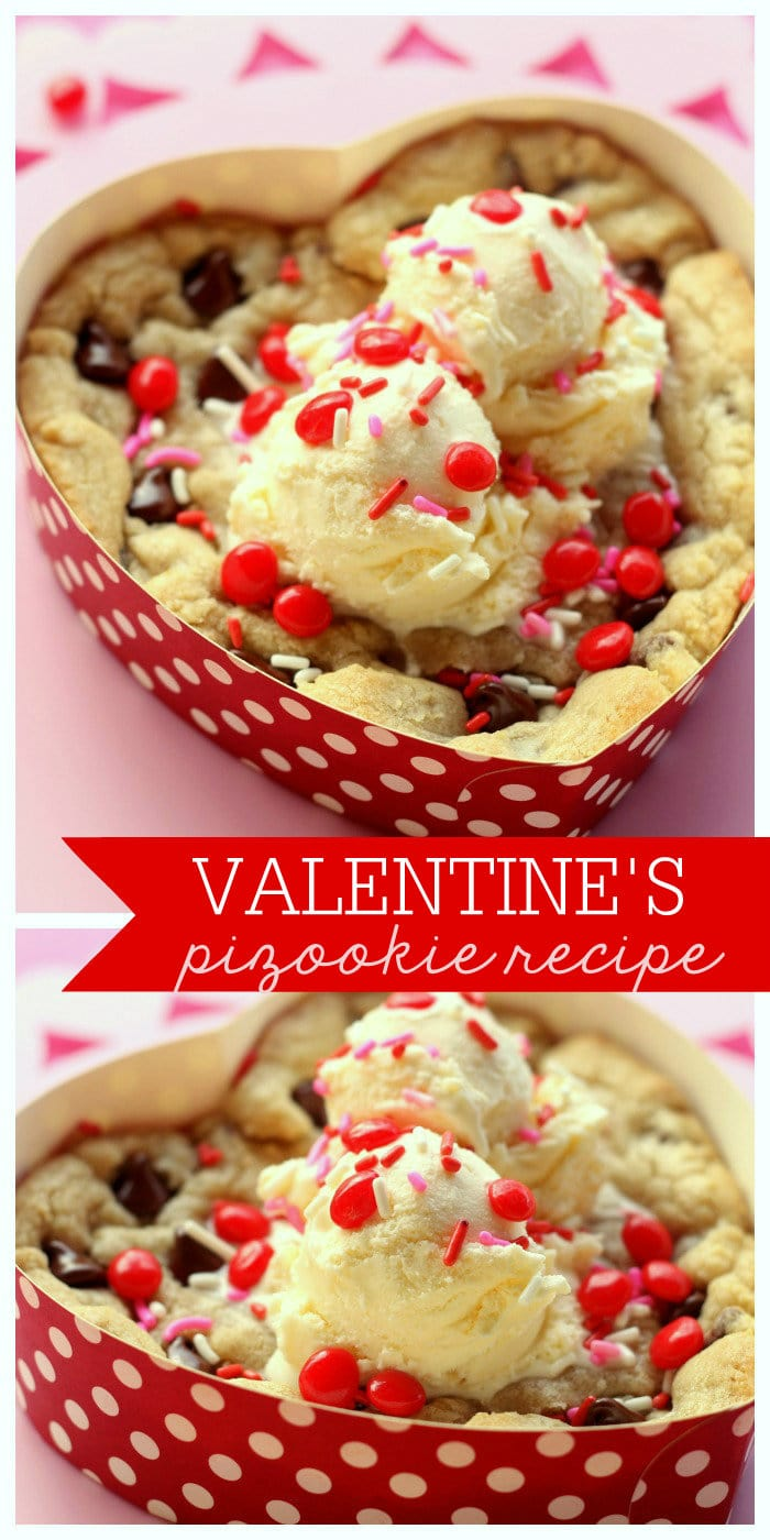 Delicious Valentine's Pizookie - YUMMY!! { lilluna.com } A big, warm cookie topped with ice cream, sprinkles, & red hots!
