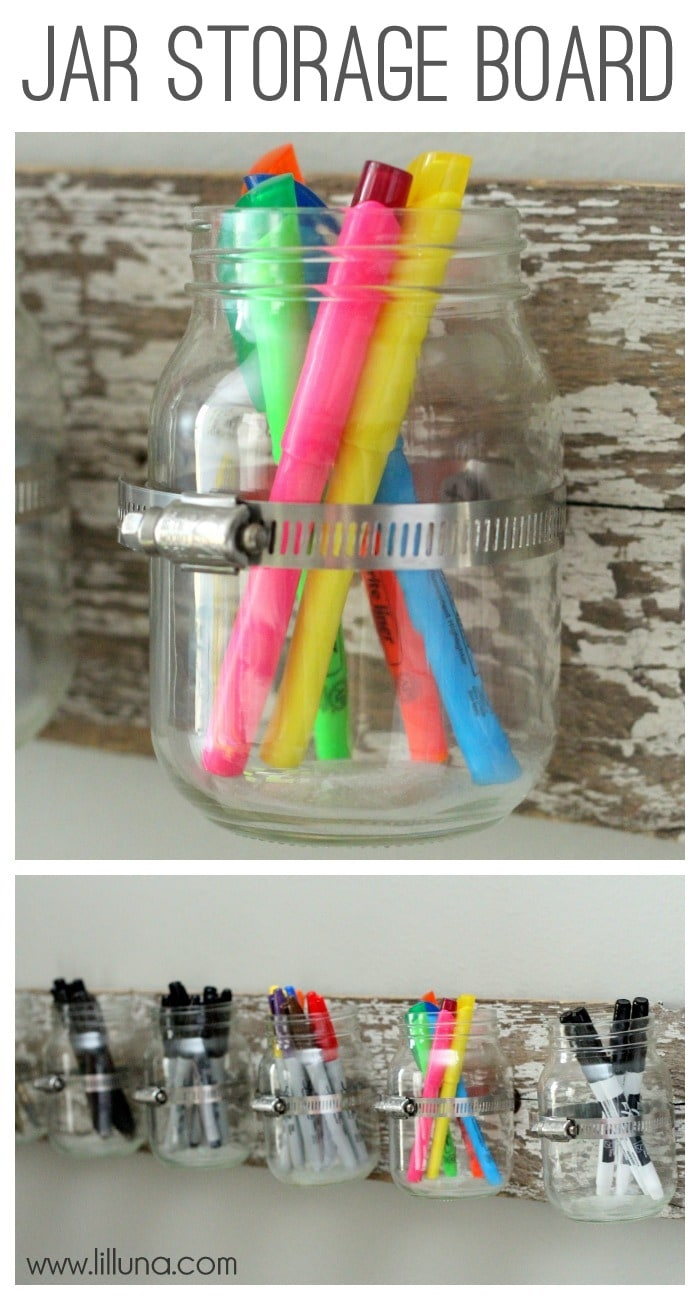 Jar Storage Board Tutorial on { lilluna.com } Easy to make and is such a great way to hold all those junk drawer items-markers, pens, scissors, pencils, you name it!