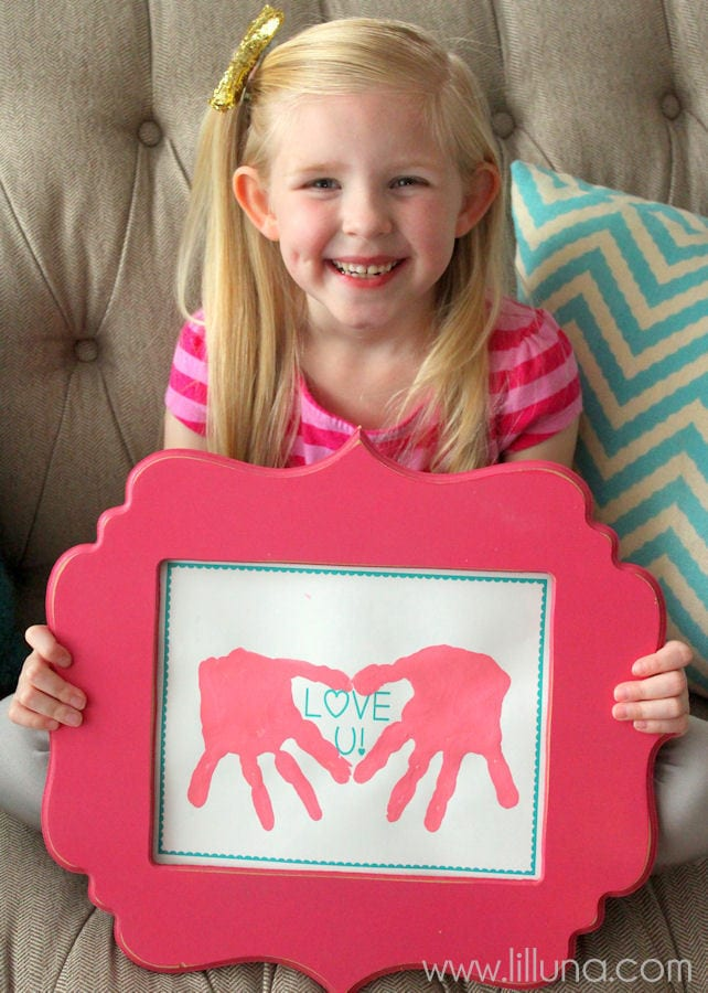 LOVE U Hand Print Gift Idea for Valentine's { lilluna.com }
