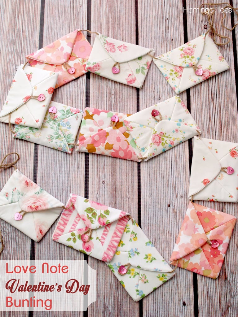 Love Note Valentines Day Bunting Tutorial on { lilluna.com } Such a cute idea to fill with treats or cards and countdown to Valentine's!