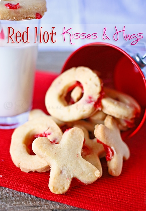Red Hot Kisses & Hugs Cookies Recipe on { lilluna.com } A yummy shortbread cookie with red hots mixed in!