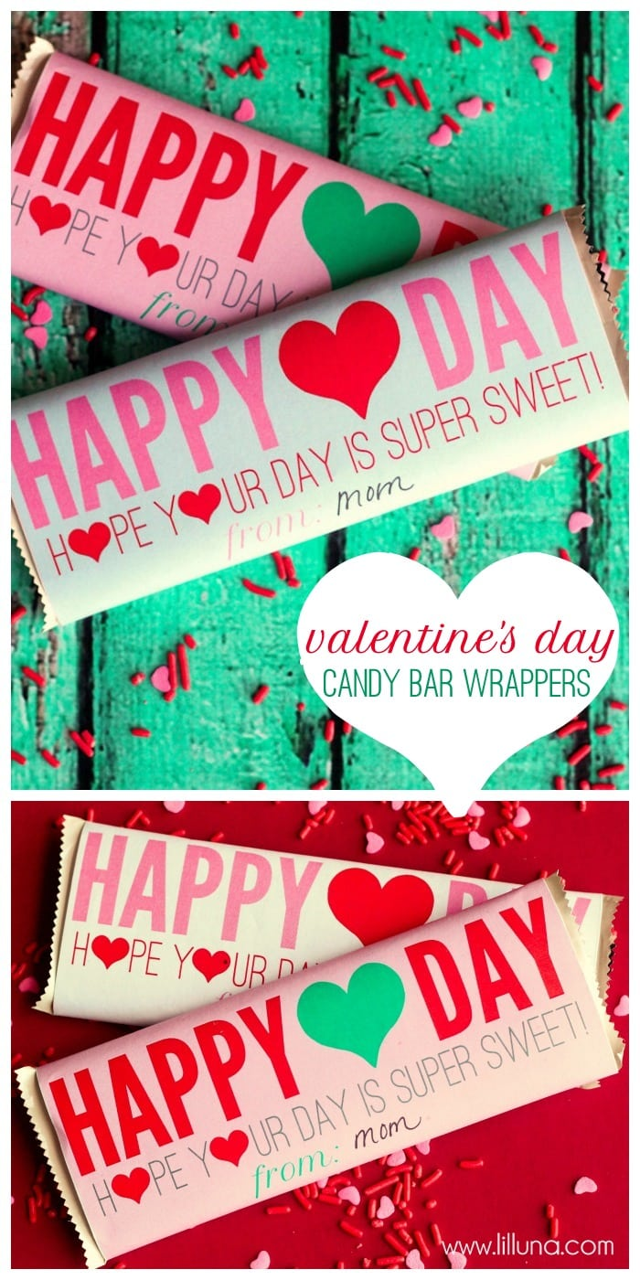 Super Cute and Free Valentine's Day Candy Bar Wrappers on { lilluna.com }