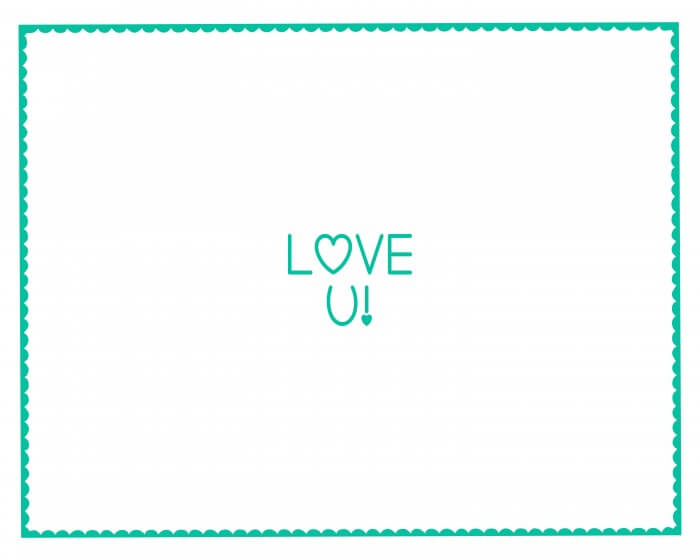 Valentine's Hand Print - LOVE YOU - Turquoise