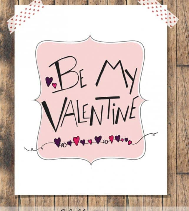Be My Valentine Free Print