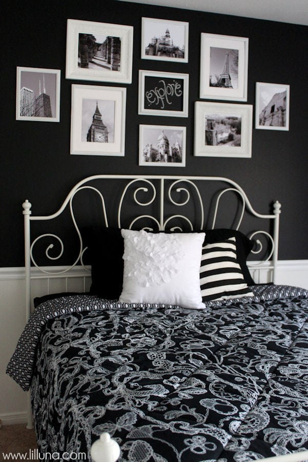 Black and White Bedroom Makeover and Chalk Gallery Wall { lilluna.com } Ideas to help inspire your own bedroom makeover!