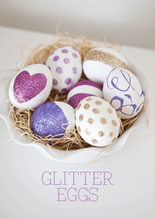 DIY Glitter Eggs Tutorial on { lilluna.com } So cute and very easy to make!