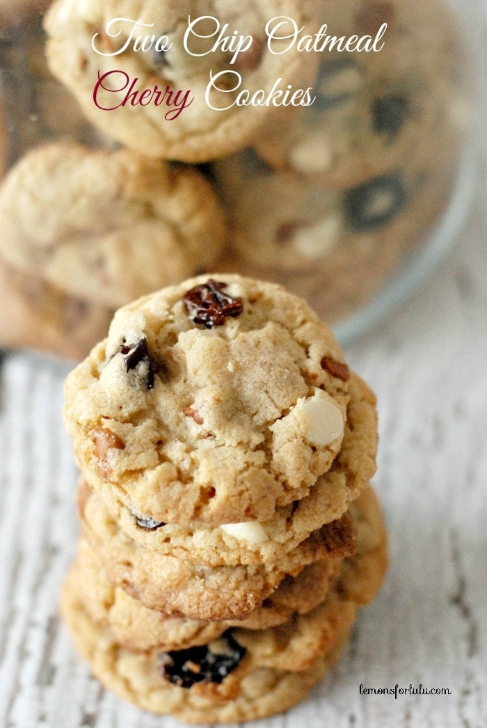Two Chip Oatmeal Cherry Cookies recipe. Cookies loaded with plump dried cherries and two kinds of chocolate chips!