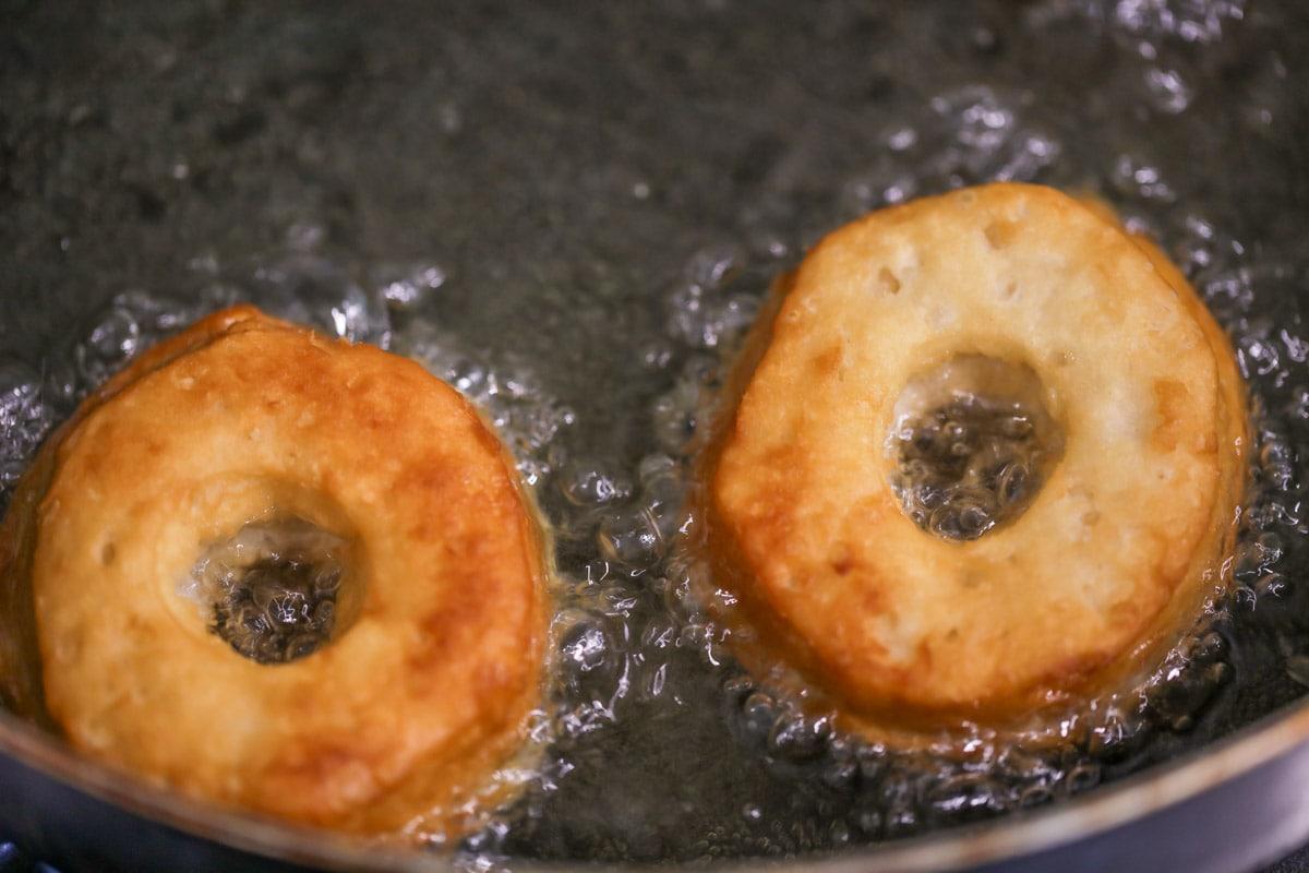 Pillsbury biscuit donuts frying in oil