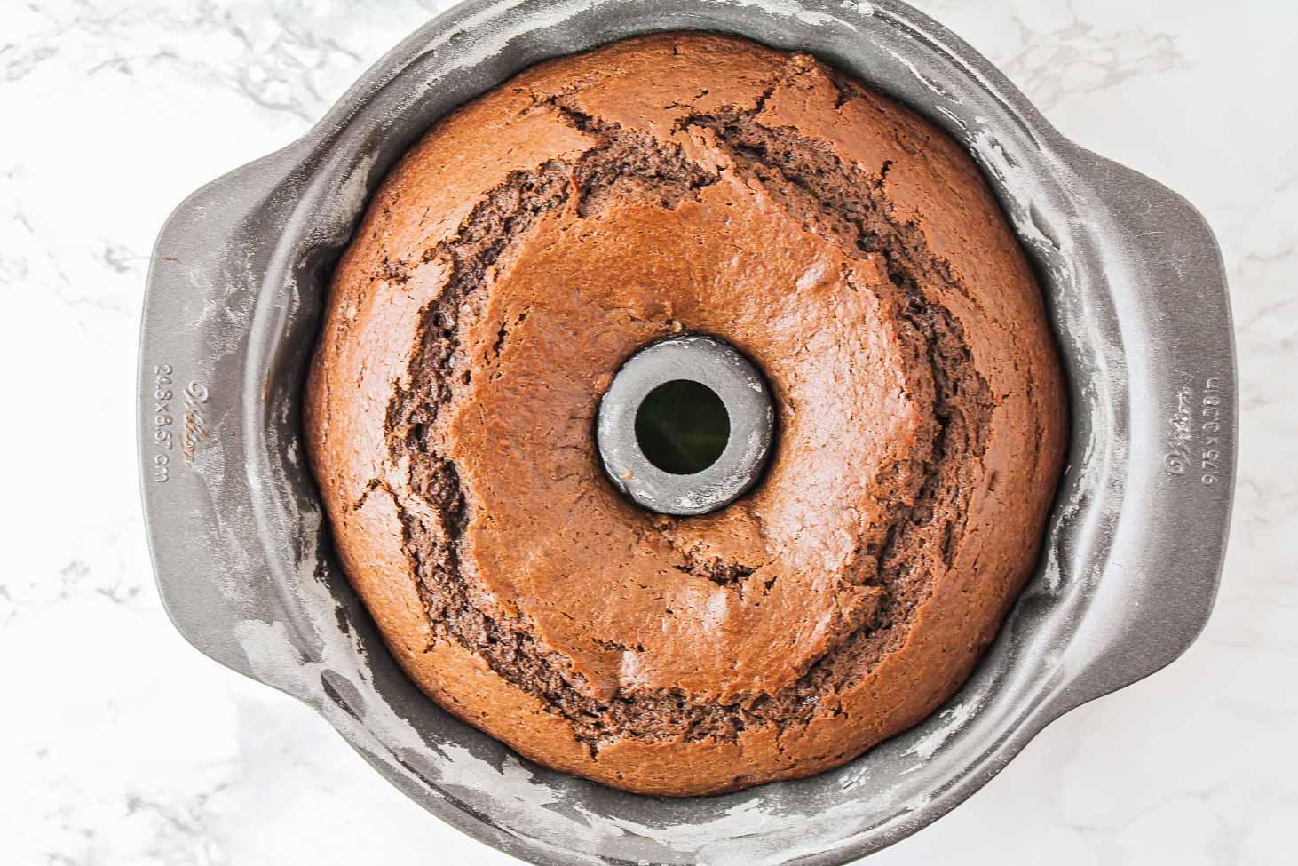 Freshly baked chocolate bundt cake