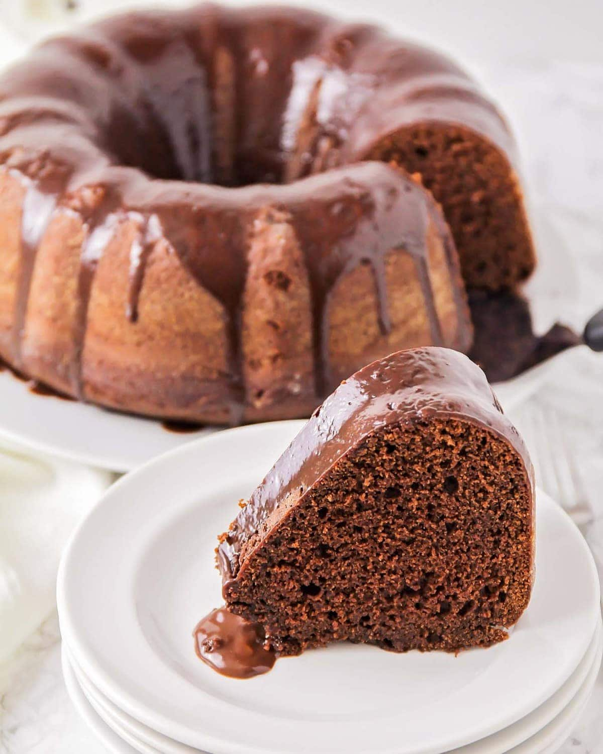 Moist chocolate bundt cake on a plate