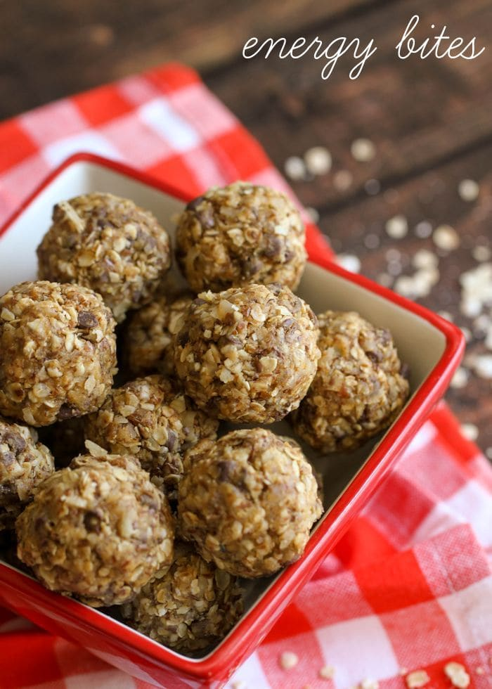 No-Bake Energy Bites recipe - a delicious and healthy snack that also helps boost your energy. { lilluna.com } Ingredients include coconut, flaxseed, chocolate chips, quick oats, & peanut butter.
