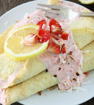 Lemon Crepes with Strawberry Coconut Filling