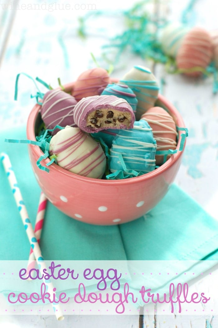 Easter Egg Cookie Dough Truffles - CUTE! Delicious egg-less cookie dough dipped in melted candy coating!! So cute!