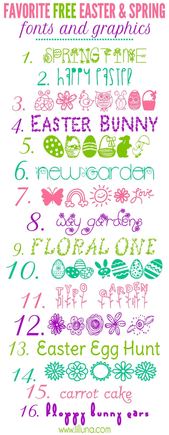 Favorite FREE Easter and Spring Fonts and Graphics on { lilluna.com } Cute prints to download and use!