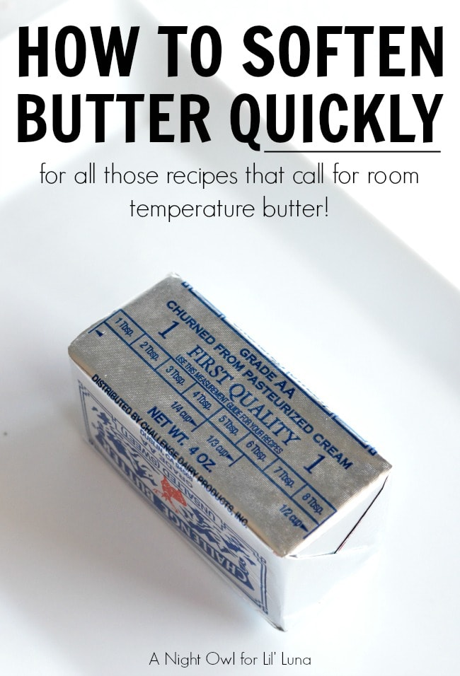 How to soften butter quickly on { lilluna.com } Great tips when you need that butter softened last minute!