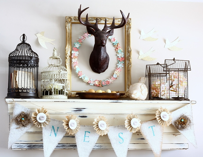 Beautiful Spring Mantel decor. Great ideas to help inspire your own Spring decor.
