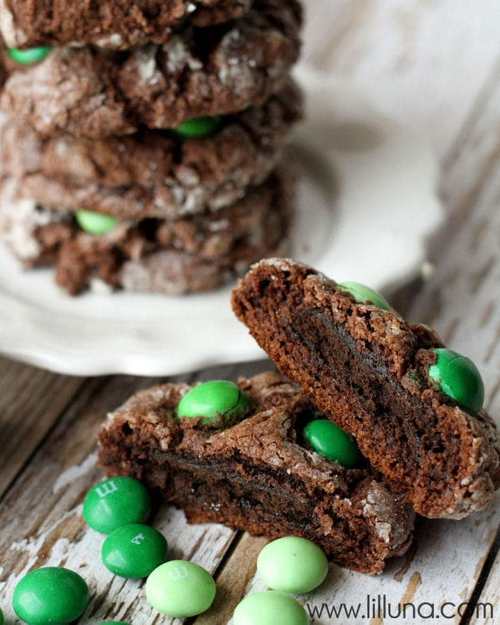 Delicious Thin Mint Stuffed Gooey Butter Chocolate Cookies on { lilluna.com } A gooey chocolate cookie, stuffed with a thin mint and topped with m&m's.