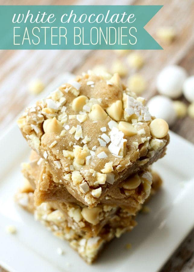 White Chocolate Easter Blondies - made with White Chocolate Cadbury Eggs... YUM!! { lilluna.com }